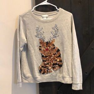 Christmas Cat with Antlers very cute long sleeve